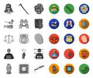 Crimen y castigo mono, iconos planos en la colección determinada para el diseño Ejemplo criminal del web de la acci?n del s?mbolo libre illustration
