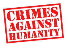 CRIMES AGAINST HUMANITY. CRIMES AGAINST HUAMNITY red Rubber Stamp over a white background Stock Photo
