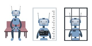The crimes committed by the robot and artificial intelligence. Robot on trial and behind bars. Concept, vector