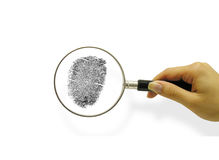 Criminal. A photo of a woman with a magifying glass inspecting a fingerprint card Stock Photos