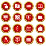 Criminal activity icon red circle set Royalty Free Stock Images