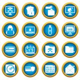 Criminal activity icons blue circle set Stock Photos