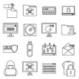 Criminal activity icons set, outline style Stock Images