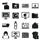 Criminal activity icons set, simple style Royalty Free Stock Images
