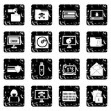 Criminal activity set icons, grunge style Royalty Free Stock Photo