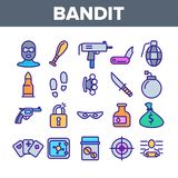 Criminal Acts, Bandit Thin Line Icons Set vector illustration