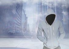 Criminal anónimo en capilla delante de la calle de la ciudad stock de ilustración