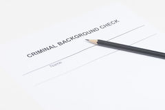 Criminal background check. Close-up of criminal background check Royalty Free Stock Image