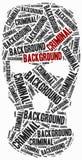 Criminal background check. Word cloud illustration. Royalty Free Stock Image