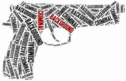 Criminal background check. Word cloud illustration. Royalty Free Stock Photos