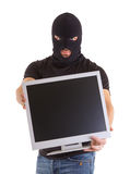 Criminal with balaclava and monitor Stock Photos