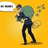 Criminal Bandit with Money Bag. Pop Art retro illustration. Criminal Bandit with Money Bag. Pop Art retro vector illustration Royalty Free Stock Photos