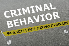 Criminal Behavior concept. 3D illustration of CRIMINAL BEHAVIOR title on the ground in a police arena Royalty Free Stock Images