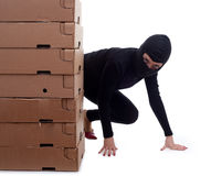 Criminal with boxes Stock Photos
