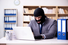 The criminal businessman wearing balaclava in office. Criminal businessman wearing balaclava in office Stock Images