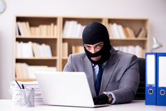 The criminal businessman wearing balaclava in office Royalty Free Stock Photo