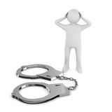 Criminal chained in handcuffs. 3D image Royalty Free Stock Photo