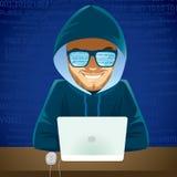 Criminal cibernético del ordenador portátil del pirata informático libre illustration