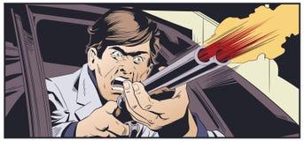 Criminal con el arma en coche Ilustración común stock de ilustración