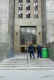 Criminal Courts Building. Two cops entering the Criminal Courts Building in downtown Manhattan Royalty Free Stock Photo