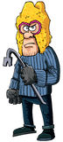 Criminal with a crowbar wearing a balaclava Royalty Free Stock Image