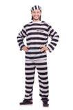 Criminal de convicto en el uniforme rayado aislado encendido Imagen de archivo