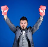 Criminal defense lawyer planning out strategies. Businessman wear boxing gloves. Best criminal defense lawyer strategies. Attack and defense concept. Tactics royalty free stock photo