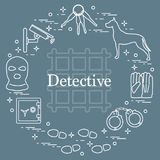 Criminal and detective elements. Crime, law and justice vector i Royalty Free Stock Image