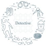Criminal and detective elements. Crime, law and justice vector i Royalty Free Stock Photo