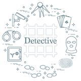 Criminal and detective elements. Crime, law and justice vector i Stock Images