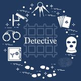 Criminal and detective elements. Crime, law and justice vector i vector illustration