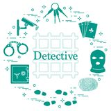 Criminal and detective elements. Crime, law and justice vector i Royalty Free Stock Photography