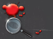 Criminal Evidence. A landscape format illustration of blood spatters on a slate grey grunge style background, with a magnifying glass highlighting a finger print Stock Images