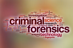 Criminal forensics word cloud with abstract background Stock Image