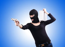 Criminal with gun isolated on white Royalty Free Stock Photos