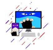The criminal hacker concept show the funny cartoon vector illustration