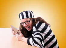 Criminal hacker with laptop on white Royalty Free Stock Photos