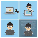 Criminal hacker set. Funny cartoon thief in black mask stealing information from laptop. Concept of fraud, cyber crime royalty free illustration