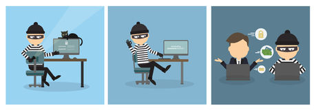 Criminal hacker set. Stock Photo