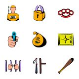Criminal icons set, cartoon style Stock Photography