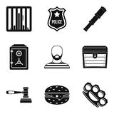Criminal icons set, simple style Royalty Free Stock Photo
