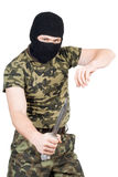 The criminal with a knife. In a black mask over white royalty free stock photos