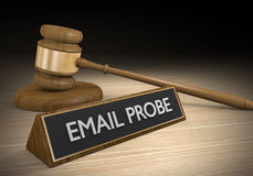 Criminal law concept for email probes and data investigations Stock Photography