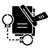 Criminal law - handcuffs - docs - gun - evidence icon, vector illustration. Criminal law - handcuffs - docs - gun - evidence icon, illustration, vector sign on Stock Image