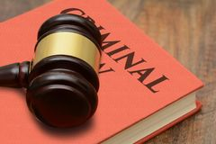 Criminal Law sign with wooden gavel and red book.  Stock Photo
