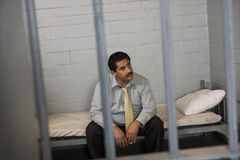 Criminal Locked In Jail Stock Images