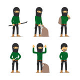 Criminal man. Burglar and thief vector character Stock Photography