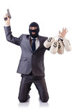 The criminal man isolated on the white Stock Photos
