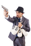 The criminal man isolated on the white Stock Photo