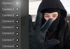 Criminal man on Security camera App Interface shop front stock photography